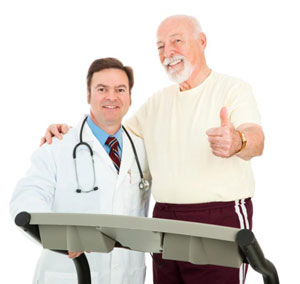 Patient with doctor giving thumbs up